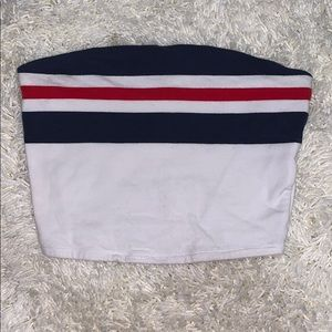 White, navy blue and red stripped cropped tube top